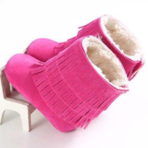ESHOO infantil bebé niño Niña zapatos suave antideslizante botas de nieve invierno cálido borla rojo rosso Talla:6-12 meses Rosa y rojo