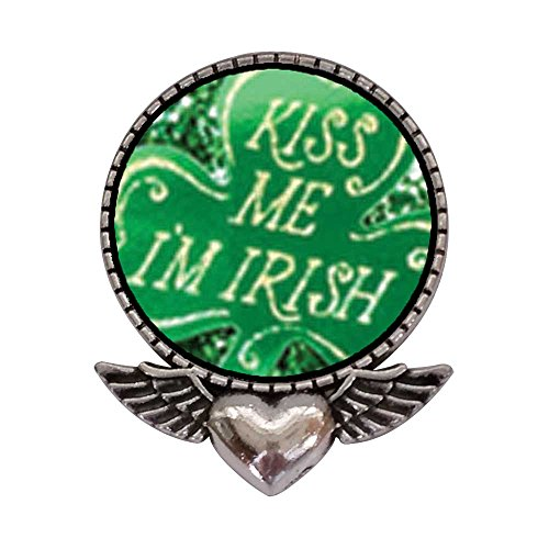 GiftJewelryShop Ancient Style Silver Plate Kiss Me I'm Irish Heart with Angel Wings Pins Brooch