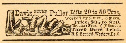 1893 ad h l bennett davis stump puller lumber tools for T shirt printing westerville ohio