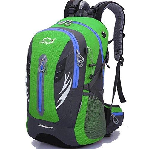 Wandern Klettern Rucksack Radfahren Rucksack Wasserdichte Bergsteigen Tasche 42L Unisex Hochleistungs-Reisetasche , green