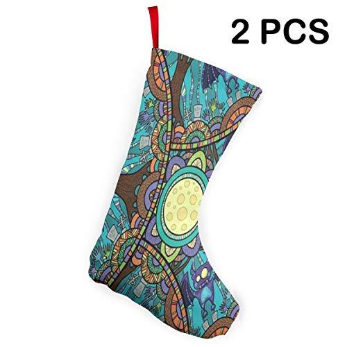 Ladninag Christmas Stockings Halloween Witch Full Moon Bat Inspiring Christmas Accessory Socks Set of -