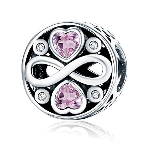 (BAMOER 925 Sterling Silver Magnolia Bloom Pale Cerise Enamel Beads for Women Bracelet (Infinity Heart))