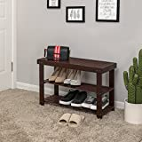 SONGMICS 3-Tier Bamboo Shoe Rack Bench,Shoe Organizer,Storage Shelf,Holds Up to 264 Lbs, Ideal for Entryway Hallway Bathroom Living Room and Corridor Brown ULBS04Z