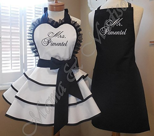 Mr. and Mrs. Bridal Apron Collection by MamaMadison Custom Aprons (Image #5)