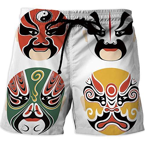Quick Dry Beach Shorts with Pockets Mesh Lining Swim Short,Kabuki Mask DecorationAthletic Shorts PocketsCultural Drama Costumes Artistic Orient Masks Ethnic Mystic Details