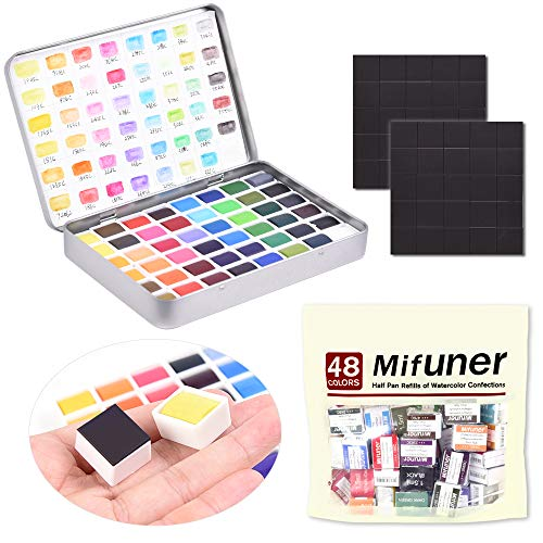 48 Assorted Watercolor Tins Palette Paint Set with 48pcs Half Pans DIY Your Own Color Box - Perfect for Painting On The Travel Mifuner