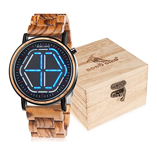 BOBO BIRD Bamboo Watch Mens Large Size Digital Led Display Night Vision Handmade Wooden Watches (Blue) (The Best Of To Catch A Predator)