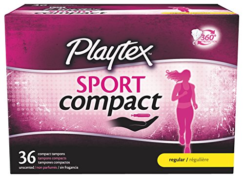 Playtex Sport Regular Absorbency Compact Tampons, 36Count Pack of 3 (Playtex Tampons 36 Count)