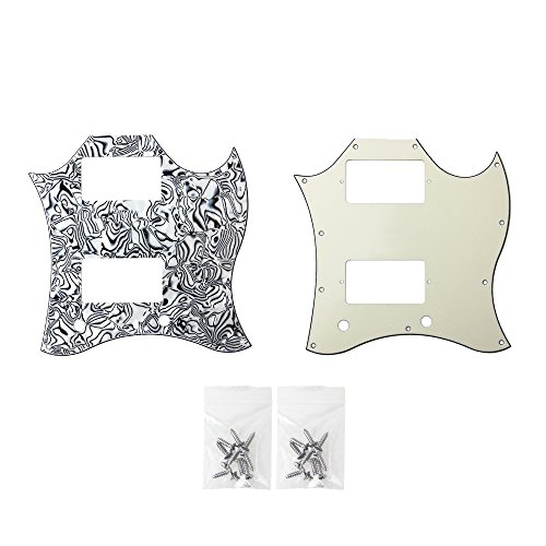 - Guitar Full Face Pickguard For Gibson SG Standard Parts 3 Ply Pale Yellow and Black And White Shell Pack of 2