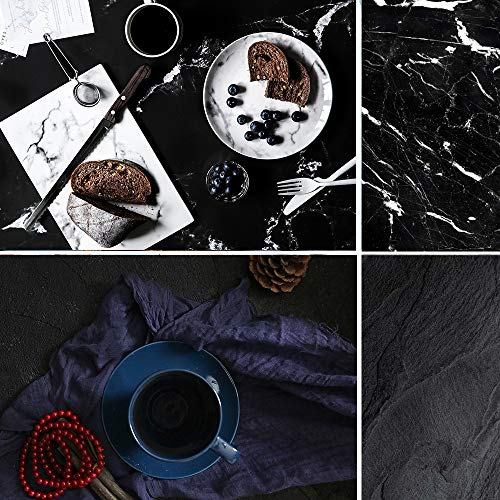 Selens 22x35 Inch (56x88cm) Black Cracked Marble Texture Background Flat Lay Tabletop Photography Backdrop for Food, Jewelry, Cosmetics, Small Product, Photo Pros and ()
