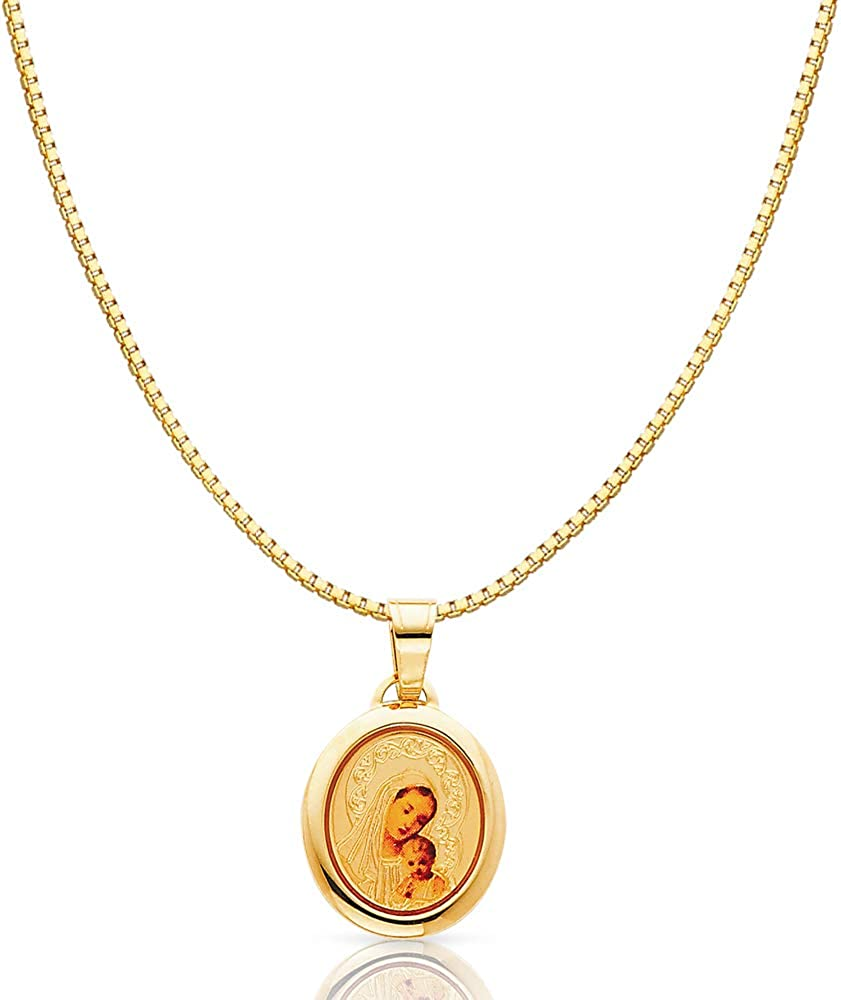 14K Yellow Gold Blessed Virgin and Jesus Enamel Picture Religious Charm Pendant with 0.8mm Box Chain Necklace