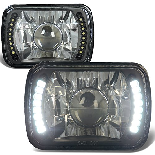 7X6 Inch Glass Lnes Bult-In LED Projector Headlight Lamps Set of 2 - Black (1982 1993 Chevy S10 Pickup)