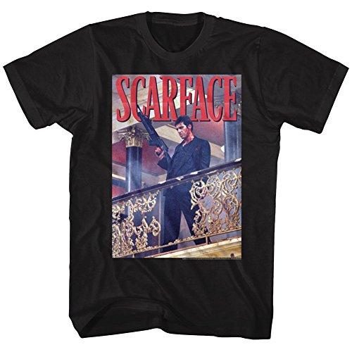 Scarface railing Shot Black Adult T-Shirt Tee ()