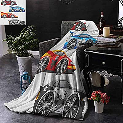 Warm Microfiber All Season Blanket Cars,Collection of Formula Race Cars Modern Mechanical Technology Automotive Championship,Multicolor,Custom Blankets for Bed Couch Chair Camping 35