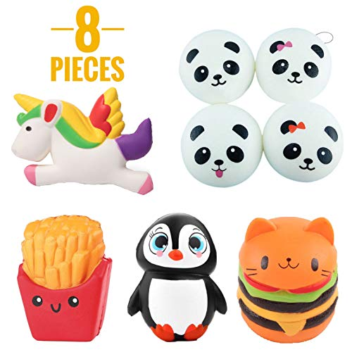 DripDrop Squishy Toys Slow Rising Jumbo Set Penguin, Unicorn, French Fries, Owl Hamburger, Cute Panda Squishies Ball Scented Stuffed Squishys Toy Party Favor Package Kids to Stress Relief (Pack 8pcs)