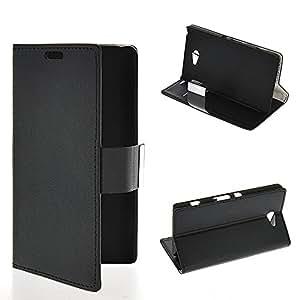 Wadinter [Negro] Funda Carcasa PU de Cuero Ultra Delgado Flip Folio Case Cover Wallet Billetera Soporte Stand con Ranura de La Tarjeta de Crédito for Sony Xperia Z2a