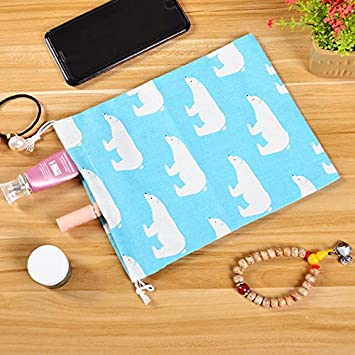 Doitsa 2Pcs Kordelzug Geschirr Tasche Baumwolle Leinen Tasche Schlafsaal Kleinigkeiten Aufbewahrungstasche Schmuck Aufbewahrungstasche Flamingo auf wei/ß 16cm*14cm