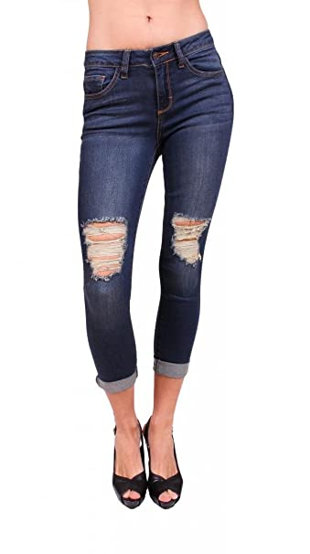 shop for best first rate outlet online Cello Jeans Women Distressed Boyfriend Jeans With Whisker Details