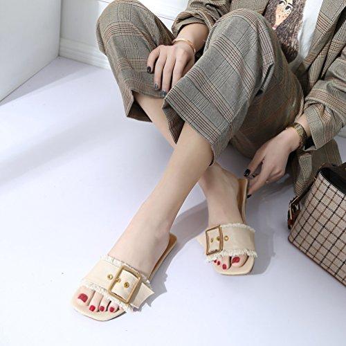 Jitian Tongs Beige Mode Mules Plage Femmes Plates Casual Été Chaussures Boucle Sandales Confort Claquettes rqC7wZr