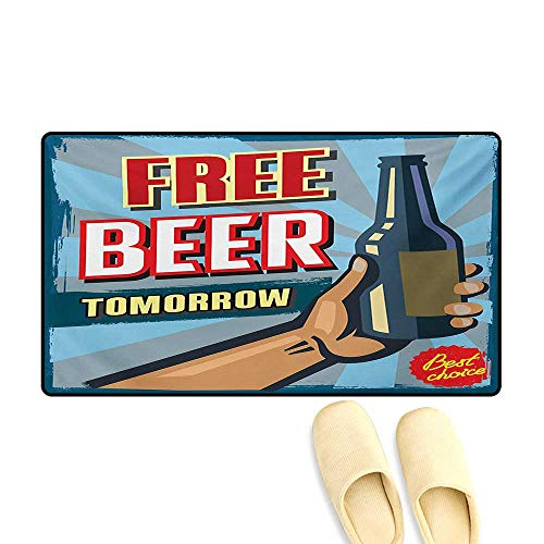 "Doormat,Arm Holding Bottle with Free Beer Quote Beverage Pub Offer Sale Fun Murky Design,Floor Mat Bath Mat for Tub,Multicolor,24""x36"""