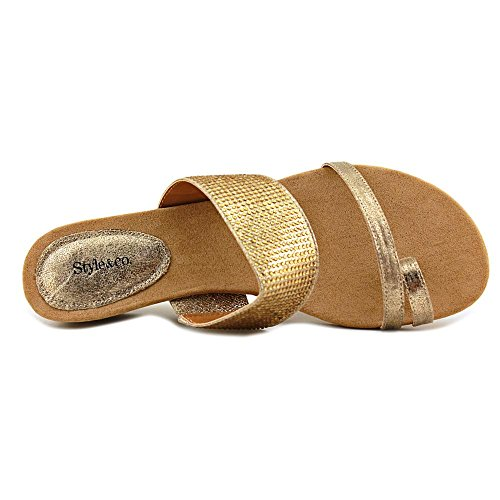 Style & Co.. Womens Heidee Open Toe Casual Slide Sandals Gold LSGBk0qdu
