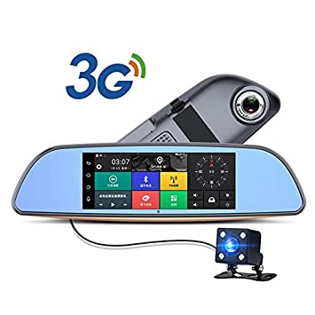 3 G coche DVR Android 5.0 GPS bluetooth fm transmisor Dual lente espejo Retrovisor cámara Automovil WiFi 7 pulgadas pantalla táctil: Amazon.es: Electrónica