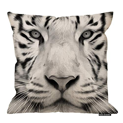 (HGOD DESIGNS Tiger Pillow Cover,Animal Gray Scale Closeup Portrait of A White Bengal Tiger Cotton Linen Cushion Covers Home Decorative Throw Pillowcases 18x18inch)