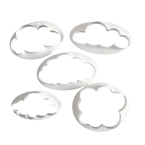 MagiDeal 5pcs Fondant Nube de Patrón Pastel de Molde Decoración Herramienta de Cocina Cortador