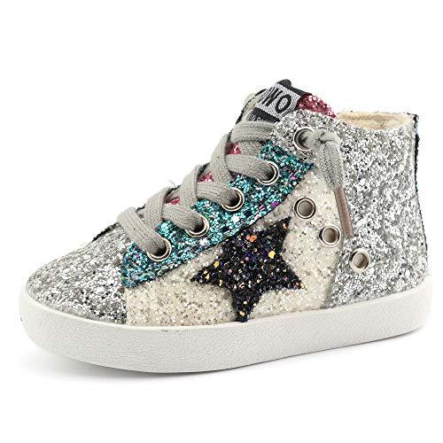 - Bakkotie Toddler Baby Glittler Shoe Girl/Boy Sequin Star High Top Sneaker(F1701-White/DDWO-22)