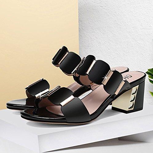 Talón Mujer tacón Blanco PU tamaño Zapatos Sandalias Verano de Sandalias Zapatillas Zapatos 37 Comfort para Zapatos y Crudo Alto Artificial de Negro Color Pantuflas Plataforma de Caminar P5wqZwg