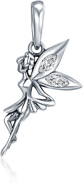 925 Sterling Silver Genuine Solid Ladies Girls Tinkerbell Pendant 20mmx40mm 6gr