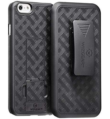 (iPhone 6 Holster, WizGear Shell Holster Combo Case for Apple iPhone 6 4.7 Inch Screen with Kick-Stand and Belt Clip - Black)