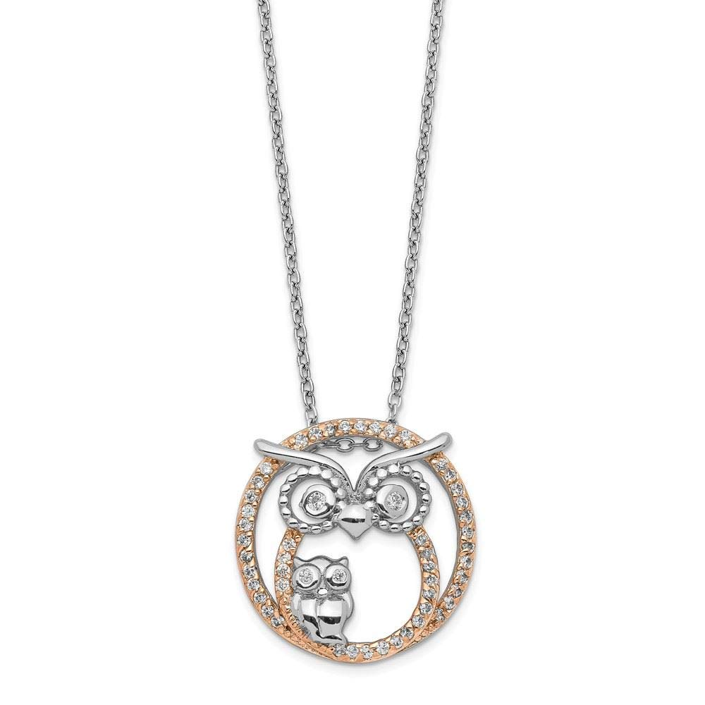 Cheryl M Sterling Silver and Rose Gold Plated CZ Owl Necklace 18.25