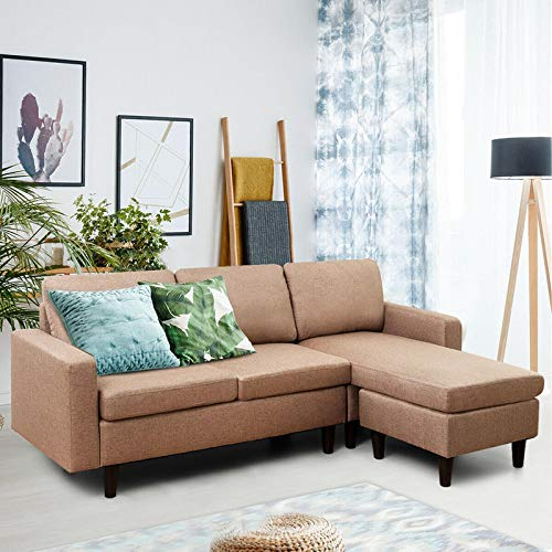 ES ESPINHO Madison 4 Seater Solid Wood Fabric Interchangeable Corner Sectional L Shape Sofa Set  Brown