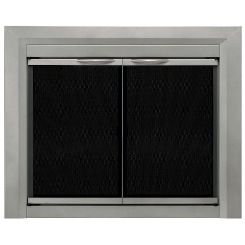 - Pleasant Hearth CB-3300 Colby Fireplace Glass Door, Sunlight Nickel, Small