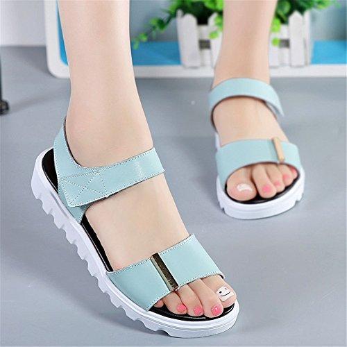 Moda Sandalias Planas Cómodo Femenina Inferior Blanda Antideslizante Con Sandalias Luz azul