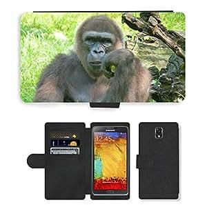 PU LEATHER case coque housse smartphone Flip bag Cover protection // M00130808 Gorila Espere mono Mamífero // Samsung Galaxy Note 3 III N9000 N9002 N9005