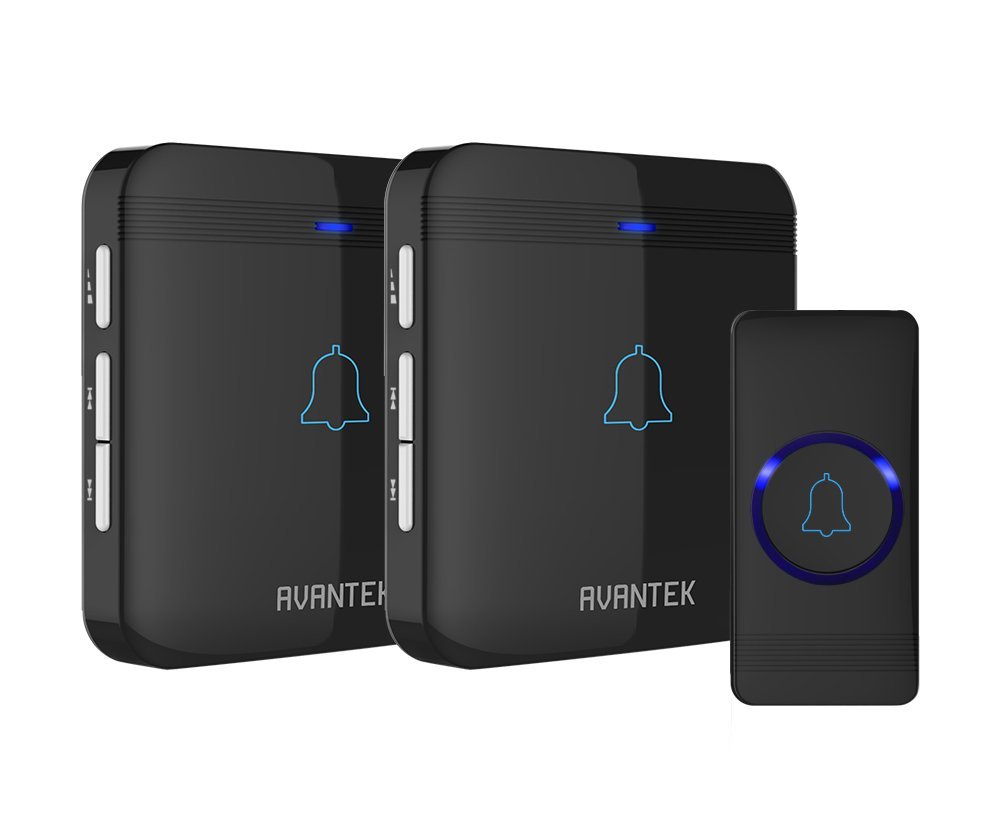 Wireless Doorbell, AVANTEK D-3B Waterproof Door Chime Kit Operating at Over 1300 Feet with 2 Plug-In Receivers, 52 Melodies, CD Quality Sound and LED Flash by AVANTEK (Image #1)