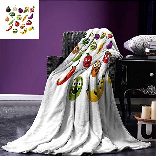 (sunsunshine Emoji Lightweight Blanket Fruits and Vegetables Carrot Banana Pepper Onion Garlic Food Cartoon Style Symbols Oversized Travel Throw Cover Blanket Multicolor Bed or Couch 70