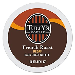 TULLY'S FRENCH ROAST DECAF COFFEE K CUP 96 COUNT