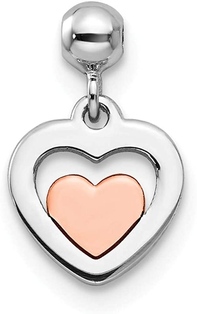 Solid 925 Sterling Silver Mio Memento and Rose Tone Dangle Heart Charm Pendant 12mm x 7mm