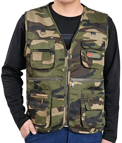Fensajomon Men Full-Zip Summer Multi-Pockets Vest Camo Print Sleeveless Jacket Coat 1 L - Mens Sleeveless Pocket