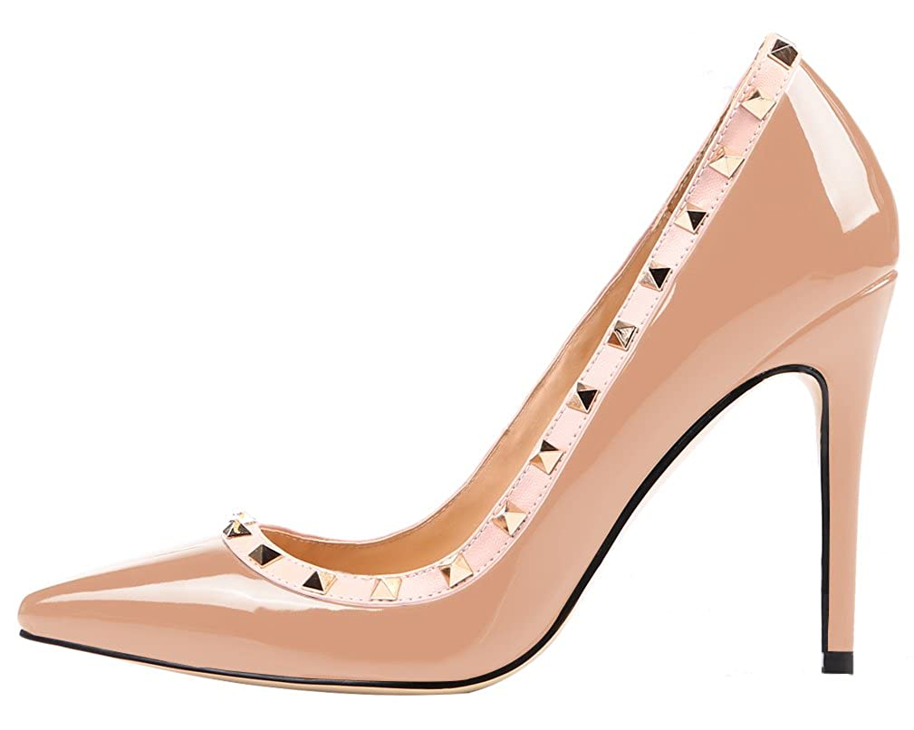 AOOAR Damen Nieten Übergröße High Heels mit Nieten Damen Pumps Beige/Lackleder 9175f6