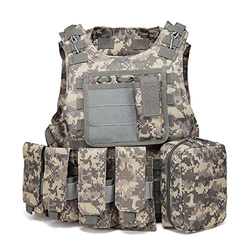 xbn Tactical Vest Outdoors Training Protection Vest Costume-Adjustable with Removeable Pouche (ACU) ()