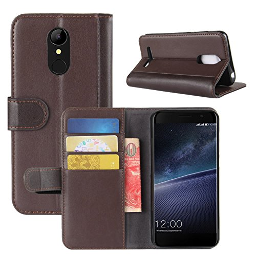 Credit M5 4G LTE Case for HualuBro Leagoo Edge Case Brown Black Genuine ID with Leagoo Cover Flip Wallet Protective M5 Leather Phone Genuine Handmade Folio Card Slots Edge wxawqC1S