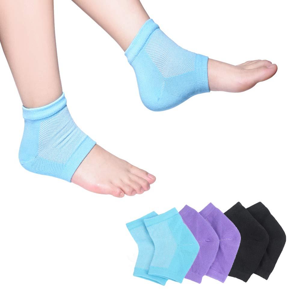 Moisturizing Socks, 3 Pairs-Moisturizing/Gel Heel Socks for Dry Cracked Heels, Open Toe Socks, Ventilate Gel Spa Socks to Heal and Treat Dry, Gel Lining Infused with Vitamins (Blue, Purple, Black)