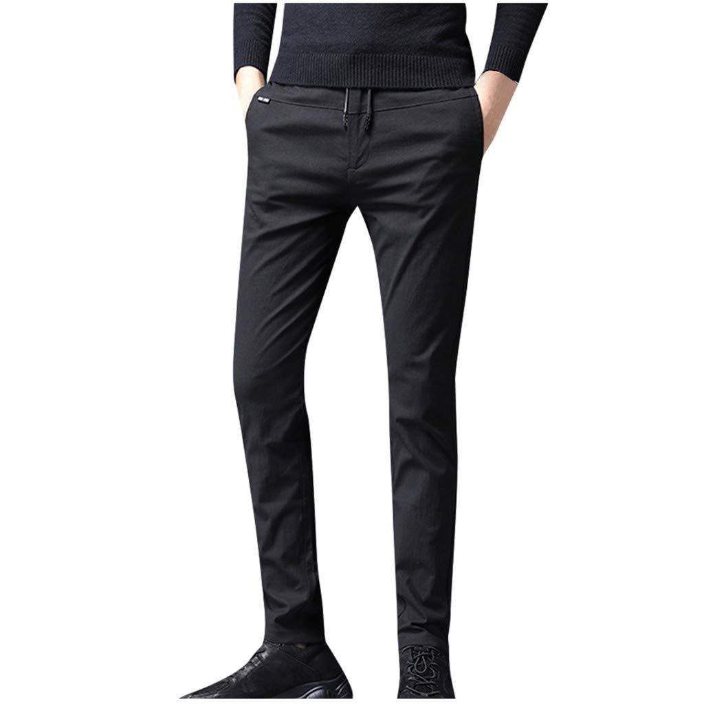 LOVOZO Men's Athletic Pantss Flex Stretch Basic Twill and Rinse Denim Pants Black by LOVOZO