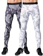LANBAOSI Mens Compression Leggings Workout Football Pants with Pockets 2 Pack Cool Dry Gym Running Tights