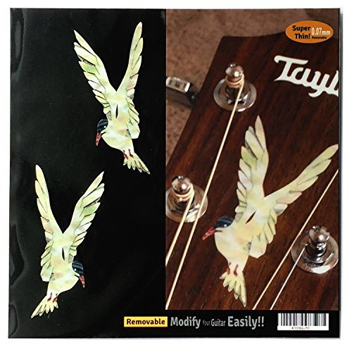 Inlay Sticker Decal Guitar Headstock In MOP Theme - Sea Swallow L&R (Decal Headstock Guitar)