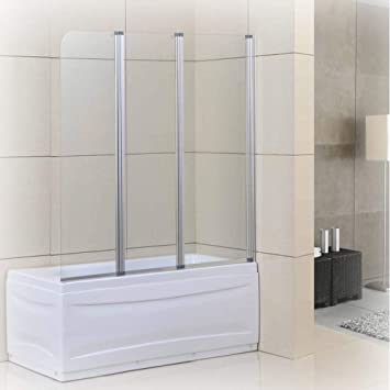 Goodyo - Puerta de ducha de cristal pivotante con bisagras de 129,5 x 139,7 cm 3 puertas plegables semi marco para mampara de ducha 1/5 de vidrio templado transparente: Amazon.es: Bricolaje y herramientas
